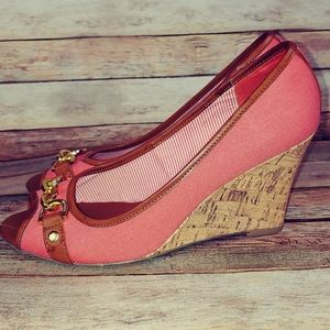Coral peach Tommy Hilfiger cork wedges 8.5